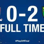 Championship #PlayOffFinal FT: @Boro 0-2 @NorwichCityFC - goals from Jerome and Redmond win it for the Canaries! http://t.co/yuRguSrE3f