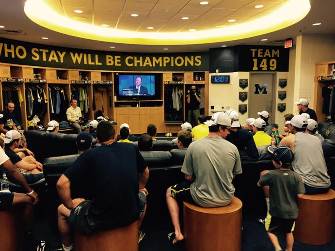 Michigan Baseball Team Watching NCAA Tournament Selection Show In Locker Room