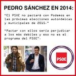 """Pedro Sánchez en 2014: """"El PSOE no pactará con Podemos"""". http://t.co/y19UOXZVsF"""