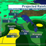 Image #1 is last Fri rain projection for Mon/Tue from GFS. #2 is todays. #3 is satrad showing near miss #cbcmb http://t.co/Saz8Zn2lEv