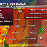 New Severe Thunderstorm Warning for Denton County until 3:15pm. 60-70mph winds possible. RS #dfwwx http://t.co/i7s4FUL39d