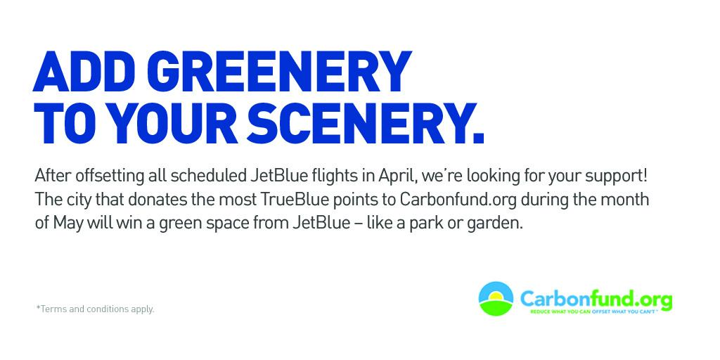 Donate TrueBlue points to @Carbonfundorg & the city w/the highest donation gets a green space!