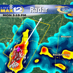 T-Storm Warning: Copiah, Franklin, Lincoln & Jefferson until 4pm. Moving NE @ 20mph. Penny size hail & 60mph winds. http://t.co/sQJcPx08B3