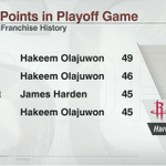 Fear the Beard. James Harden becomes 1st Rockets player to score 45 points in a playoff game since Hakeem Olajuwon. http://t.co/WjyHRkakPV