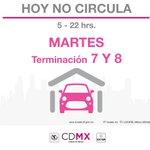 Mañana aplica el #HoyNoCircula #CdMx en terminaciones 7 y 8 o engomado Rosa. http://t.co/8Ja9meZX8K