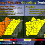 Confidence is increasing in severe weather, especially in ArkLaMiss Delta. Here is the updated forecast for tonight. http://t.co/CbJuy7OXqX