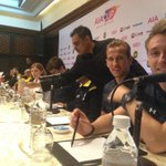 Smiles all round from @hkane28 and @ChrisEriksen8 as the press conference gets underway. #SpursInMalaysia http://t.co/F5SYUUjtTQ
