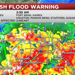 """NEW FLASH FLOOD EMERGENCY FOR HOUSTON AND SUGAR LAND! Dangerous situation continues to unfold, now over 10"""" of rain! http://t.co/PkDAAwrnqN"""
