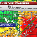 FLASH FLOOD EMERGENCY GETTING WORSE! BRAYS BAYOU GOING OVER BANKS IN SOUTHWEST #HOUSTON! http://t.co/Znkhr6D5hg http://t.co/CYWo0aht8w