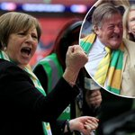 Delia Smith and Stephen Frys delight as Norwich City is promoted to Premier League http://t.co/fyntjDvPG0 http://t.co/kSITv6qlmz