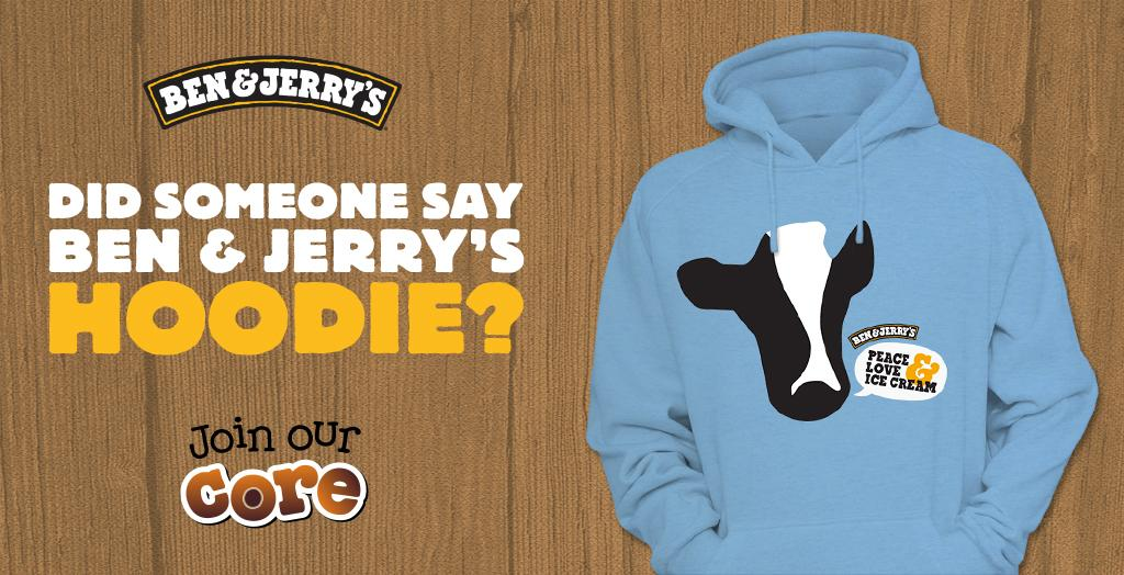 WIN 1 of 50 LTD EDITION Ben & Jerry's hoodies! Follow us & RT our 1pm tweet for a chance to scoop one! #JoinOurCore http://t.co/ntLqCeQR2Z