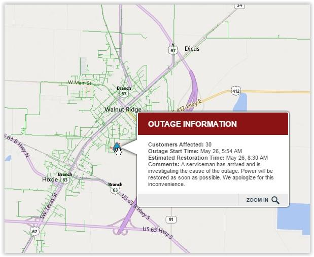 Biggest Nea Power Outage Reported Right Now In Southern Walnut Ridge