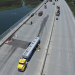 MT @Melissa_Live5: Birds eye view of semi leaking gas on Ravenel, expected to be open by 4pm. Source: Joe Vadder. http://t.co/GyR5zYG82y