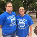 Coworkers Rachel Farrell & Joanne Smith of Council Bluffs made these T-shirts. Said theyre here to block picketers. http://t.co/Q0BVTZOiBp