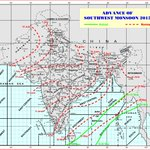 The Met department predicts the advance of the Southwest Monsoon - 2015. Showers likely in early June in Hyderabad @