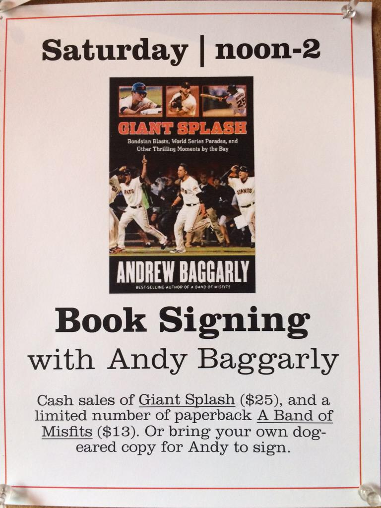 Meet Andy Baggarly at red rock coffee on the 2nd floor this Saturday for a book signing event. http://t.co/RyiDyhELSl