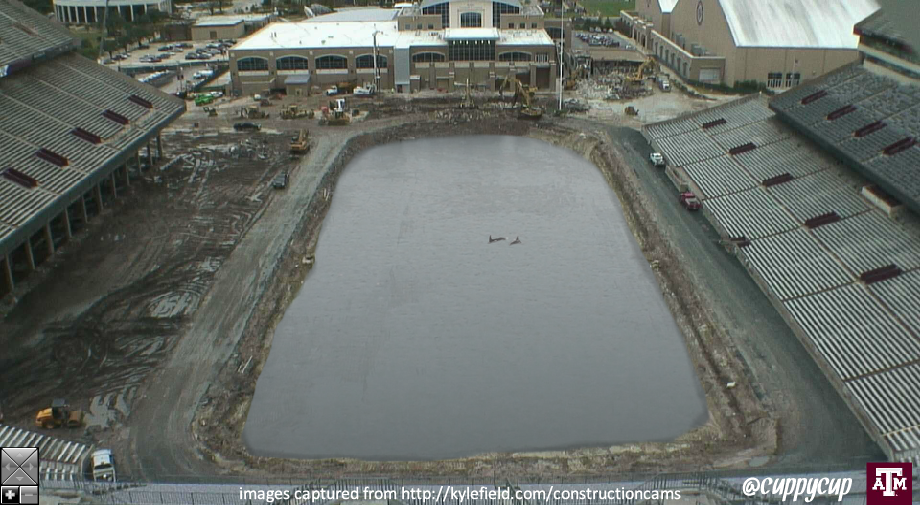 Kyle Field worksite closed until displaced dolphins can be recovered. http://t.co/ILWQoJLD6U