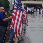 Patriot Guard Riders line 24th Street for blocks with American flags. #action3news http://t.co/KAFnhNQTUR