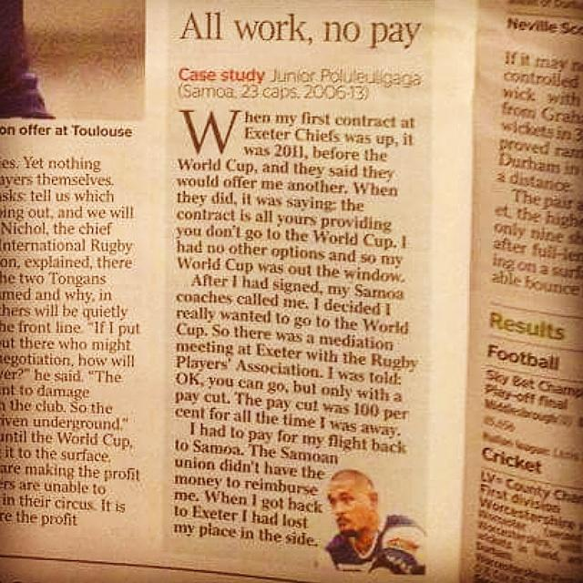 My story in the @thetimes of the sacrifice I made to represent my country. @WorldRugby @manusamoa http://t.co/eeB6eQAodd