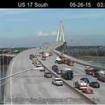 MORE PHOTOS: All lanes of Ravenel Bridge closed due to accident, leaking fuel http://t.co/lQA5jFBtBy http://t.co/ajklWb56cb