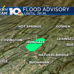 A Flood Advisory is in effect for northern Botetourt and eastern Alleghany County until 7p.m. due to heavy rain. http://t.co/ViB9HKREHC