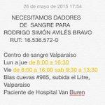 Atenti los lectores del pop: ¡Se necesitan dadores de sangre para el estudiante Rodrigo Avilés! http://t.co/k0Dw3IhPiw Vía @lacuarta_jorge