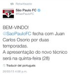 @SaoPauloFC Hace oficial la llegada de Juan Carlos Osorio como nuevo técnico de la institución durante dos temporadas http://t.co/LETyHAsGK2