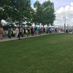 The line to get on the @ChasWaterTaxi right now. Ravenel Bridge still closed #chsnews http://t.co/hneIOZKjbh