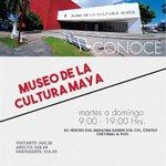 Información de interés: Visita el Museo de la Cultura Maya en Chetumal de martes a domingo de 09:00 a 19:00 hrs. http://t.co/TCCGfRFYXo