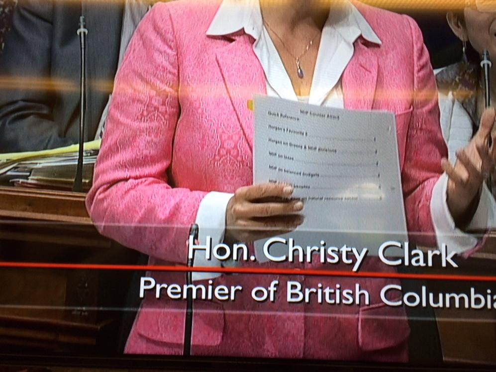 "During question period, Christy Clark uses ""NDP Counter Attack"" book, as spotted by Hansard TV cameras. #bcpoli http://t.co/toHPVabcI8"