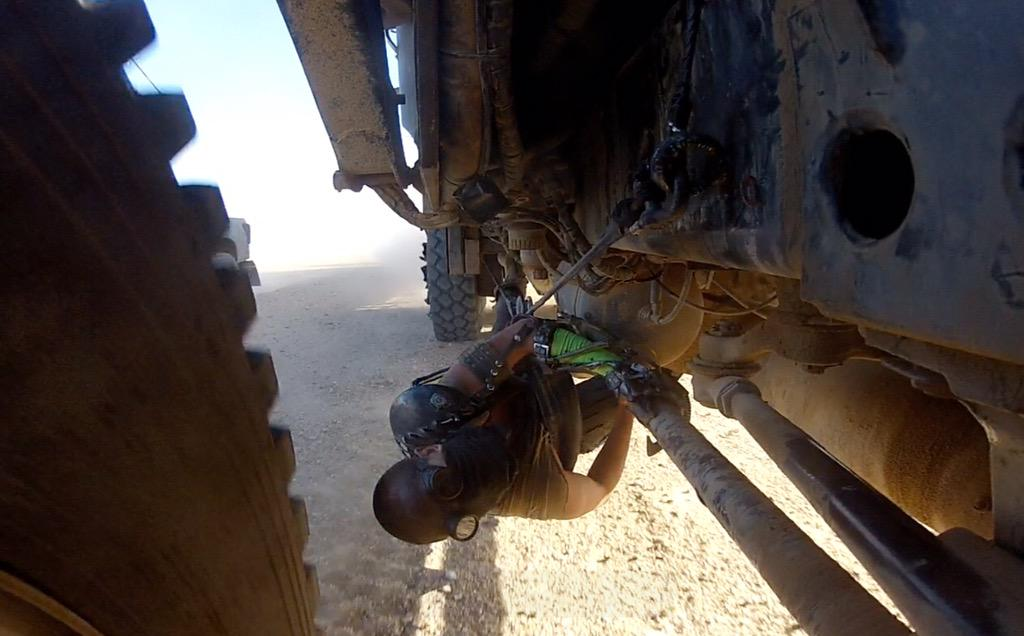 Me spending a lot of time under the war rig on the move #furiosa #MadMaxFuryRoad http://t.co/NkLpR1CU0A