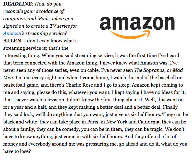 Woody Allen's Interview at Cannes is AMAZING - a must read where he talks about @AmazonVideo http://t.co/r70bidMIlD http://t.co/eRhYkDUmcg