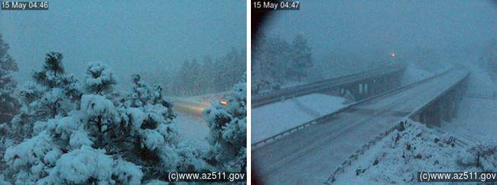 I-40 in #Flagstaff -- Yes, it's snowing in Arizona in May!. ADOT plows are working the roads. #azwx http://t.co/PtWkT1pXVA