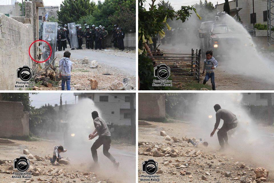 היום בהפגנה בכפר קדום, חייל ישראלי מסמן לילד בן 7 להתקרב, רק כדי שמיכלית הבואש תוכל לרסס אותו. הוא בטח חשב שזה מצחיק http://t.co/7vGwCHnVsU