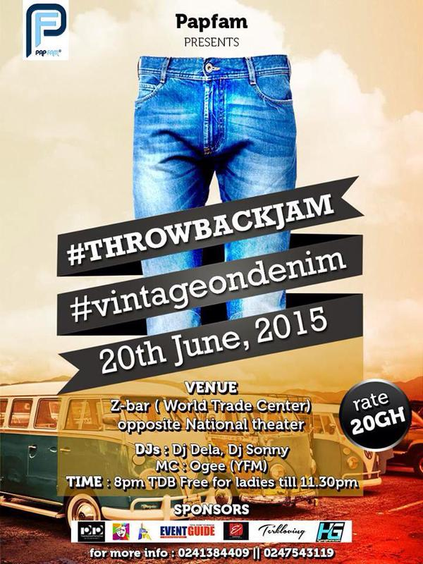 #throwbackJam #vintageondenim happening on 20th june at z-bar ,rate 20ghc free 4 ladies b4 11:30pm http://t.co/rOAaXCOQ9C