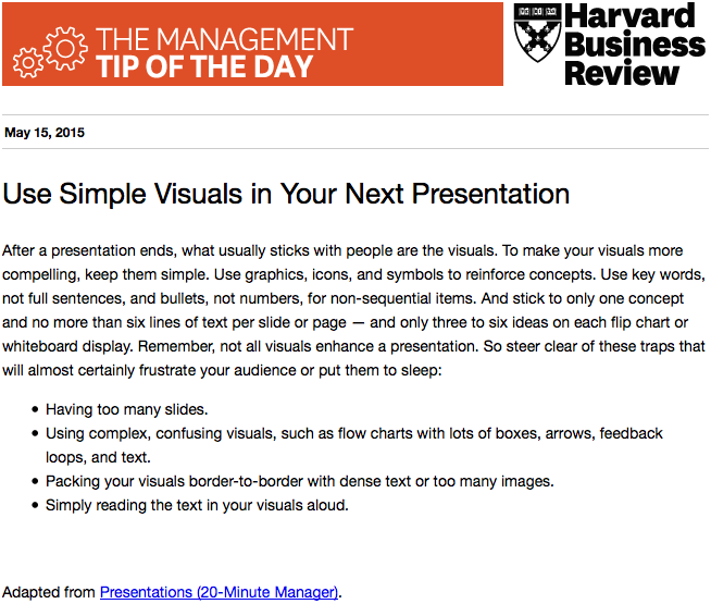 Today's management tip: Learn to use visuals in your presentations http://t.co/t8gitMQb44