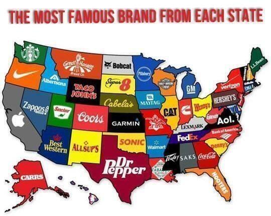 The Most Famous Brand From Each State #brand #USA #brands http://t.co/kwN3iiHkvl