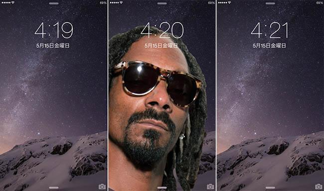4時20分になると1分間だけIPhoneのロック画面壁紙にスヌープ・ドッグが出現するソフト…。マジ意味わかんない http://t.co/p7RqAt5k7A http://t.co/UFJXkaIXaS