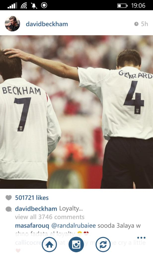 David Beckham's post on instagram about Stevie