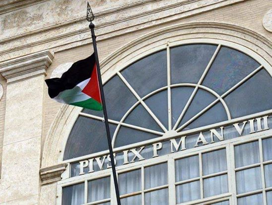 The Palestinian flag on top of the Vatican, for the first time - 5/16/2015 #Palestine http://t.co/TYLmY2R9tk