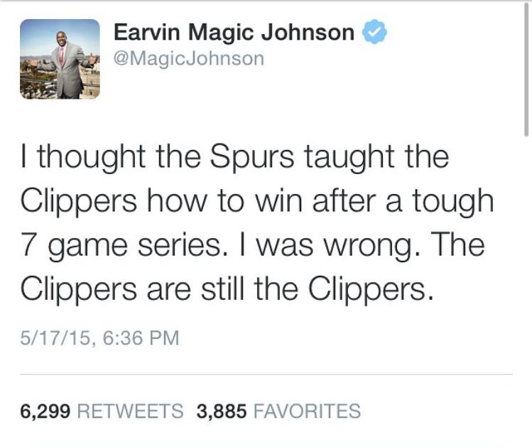 L.A. will always be a Lakers town. Here come the Clippers-haters. Shots fired by Magic Johnson. http://t.co/OxJkESgNc5