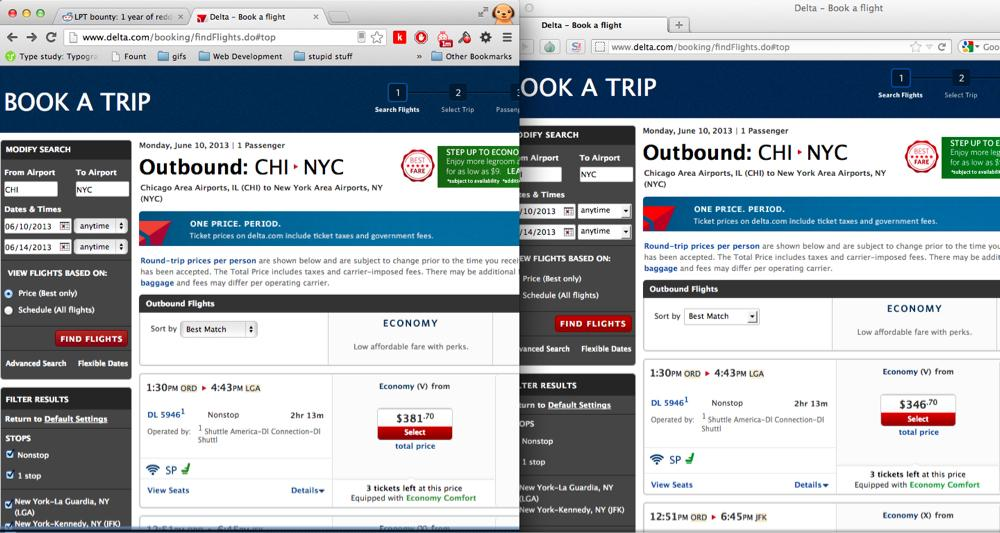 "Purchasing plane tickets while your browser is in ""Incognito Mode"" will lower airfare prices. http://t.co/L42qPZVThg"