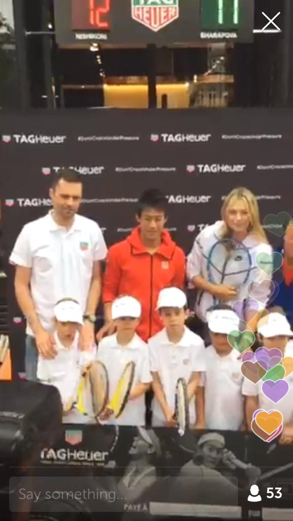 Maria Sharapova /Kei Nishori @euromaestro #periscopetv #paris wonderful! #tennis @TAGHeuer  https://t.co/kQVIO9TnfU http://t.co/8BZtGWPfb7