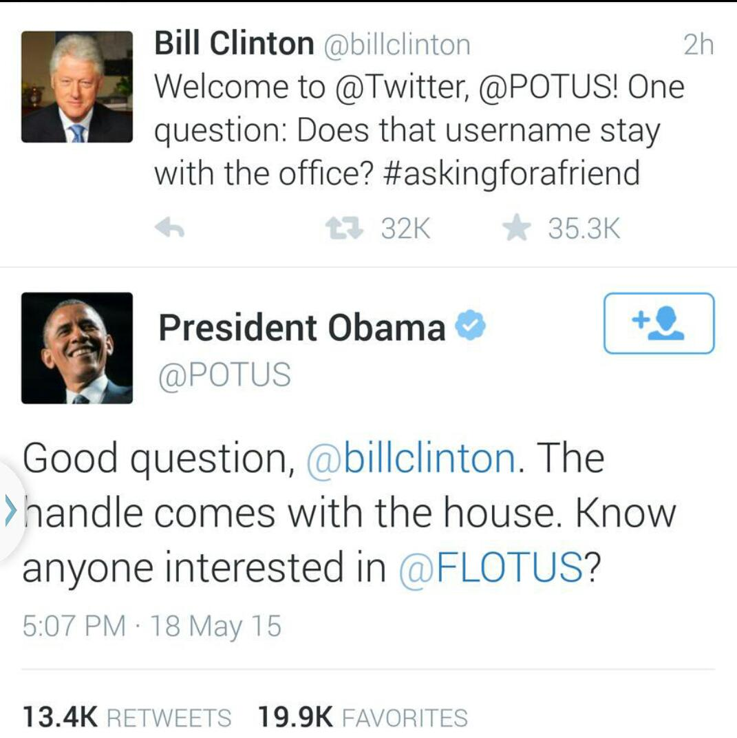 Hilarious. Ain't nothin' like a Lil presidential goofing around on #Twitter #askingforafriend http://t.co/kcIkSd5abK