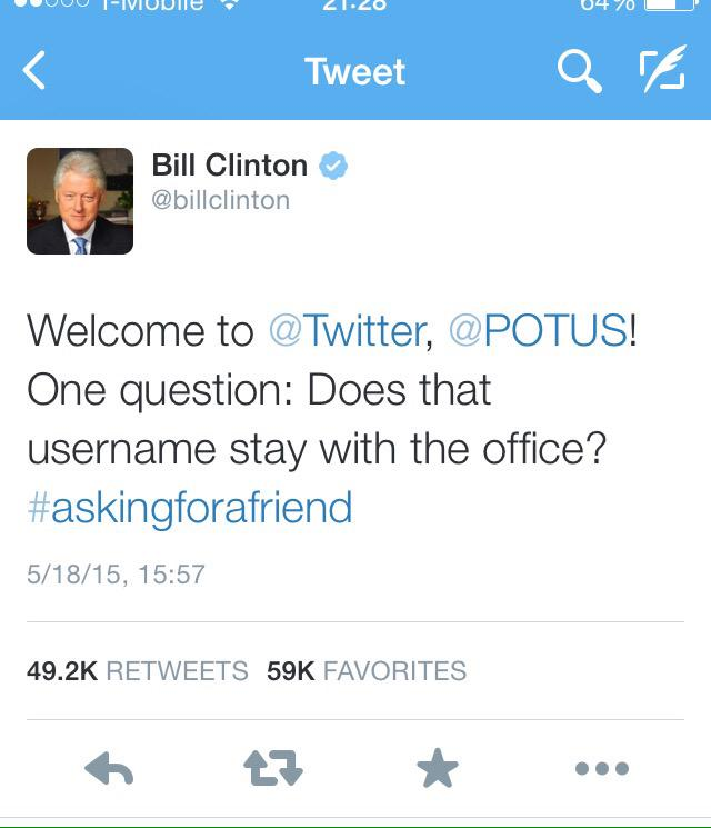 Presidents being funny on Twitter. Who will be FLOTUS indeed if Hillary Clinton wins? http://t.co/4Pe1j4UgrN