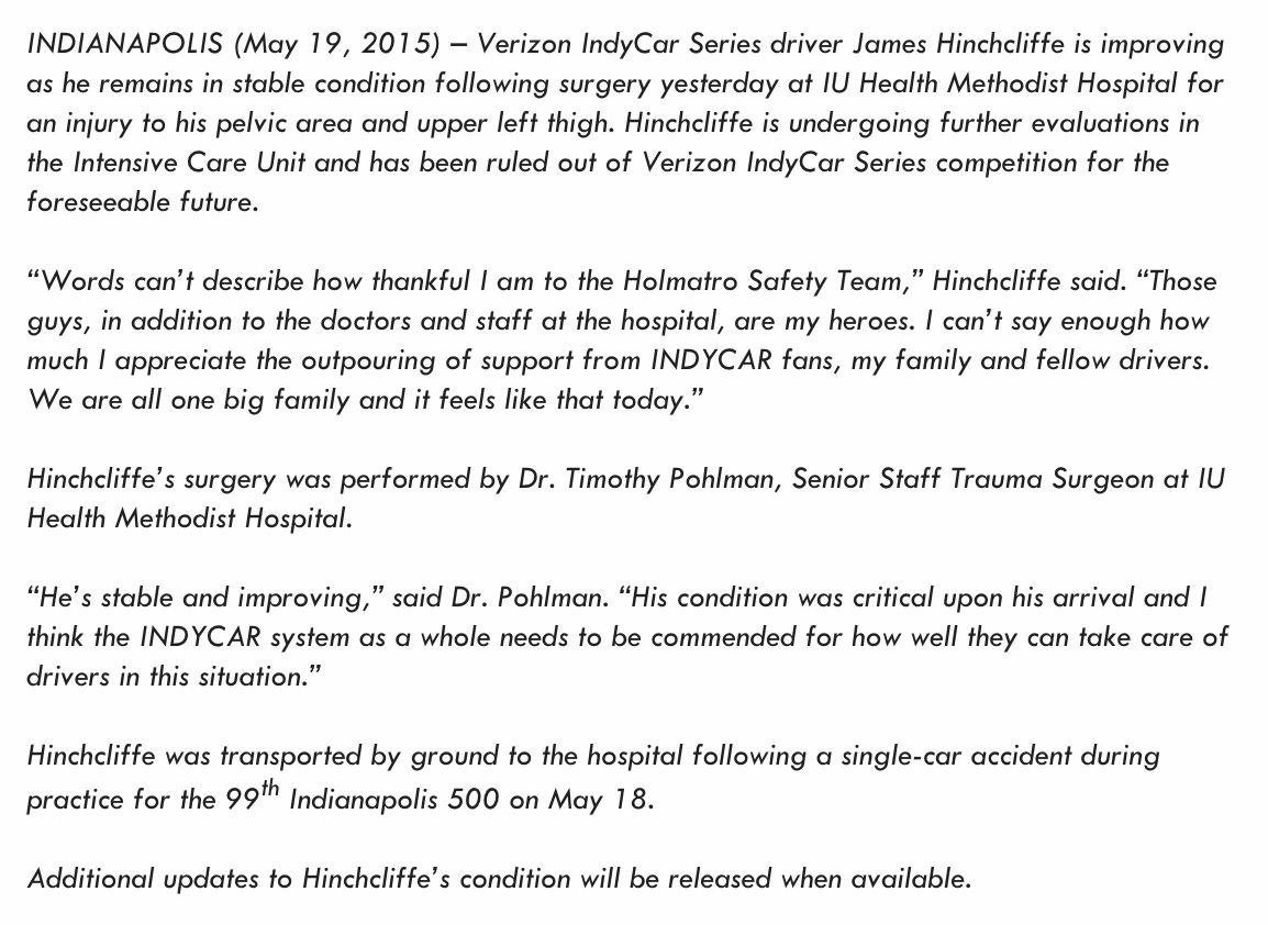 The latest update on @Hinchtown from @IndyCar... http://t.co/1j11EDxYA7