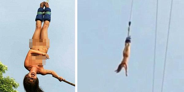 nude girls bungee jumping