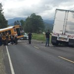 Accident on N River Rd near Rogue River. Looks like a school bus vs. a semi-- Stay with @KDRV for updates http://t.co/UlAbkij5SD