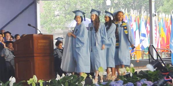 The Columbia student who became famous for carrying her mattress graduated with her mattress