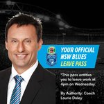 Have you got your pass to leave work early ready? Laurie Daley is calling you to leave early & cheer #uptheblues http://t.co/zwiPpBvMRg